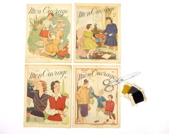 """Magazines fashion french vintage 1940-1950 """"my book"""" - newspaper old couture knitting embroidery decoration retro advertising - Collection"""