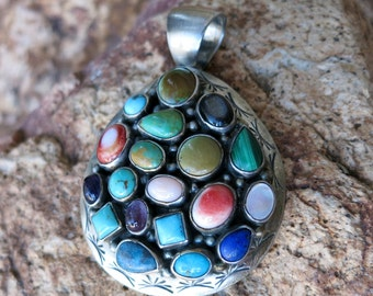 "NAVAJO PENDANT by T BENALLY, Multi-colored Stones,Signed &  Stamped"" Sterling"""