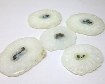 Natural SOlar Quartz smooth slices -Solar quartz smooth Slice M.M.51-61 M.M. 5 Pieces DM #N56