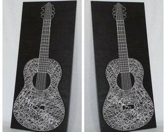 Music Guitar String Art, Musical Instrument, Music Gift, Black & White Wooden Plaque, Large String Guitar, Music, Music Fan, Home Decor