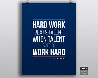Kevin Durant poster, OKC thunder print, NBA motivational inspirational basketball quotes on wall prints, Hard Work Beats Talent