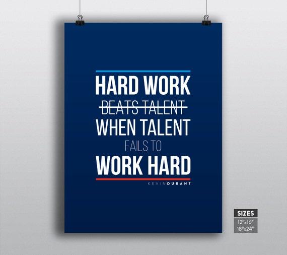Hard Work Never Fails Quotes: Kevin Durant Poster OKC Thunder Print NBA Motivational