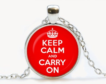Keep calm and carry on Red Pendant. Keep calm and carry on Necklace. Keep calm and carry on jewelry, red. Birthday gift