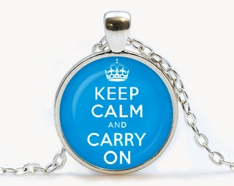 Keep calm and carry on Blue Pendant. Keep calm and carry on Necklace. Keep calm and carry on jewelry, голубой. Birthday gift