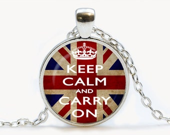 Keep calm and carry on English Flag Pendant. Keep calm and carry on Necklace. Keep calm and carry on jewelry. Birthday gift