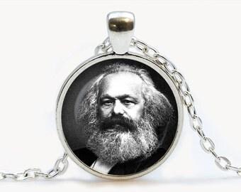 Karl Marx philosopher pendant. Revolutionary socialism Marxism necklace. Economics, Famous People, genius jewelry, birthday gift.