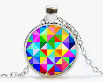 Geometric print Pendant. Geometric print Necklace. Geometric print jewelry, birthday gift