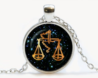 Libra black Glass Zodiac pendant, Libra necklace charm, Libra jewelry, birthday gift, astrology
