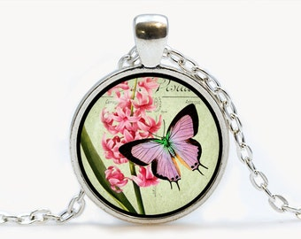 Butterfly vintage Glass pendant. Butterfly art Necklace. Butterfly jewelry, birthday gift