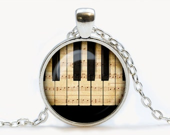 Piano glass pendant, Music necklace, Musical instruments jewelry, birthday gift
