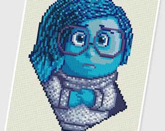 PDF Cross Stitch pattern - 0038.Sadness ( Inside Out ) - INSTANT DOWNLOAD