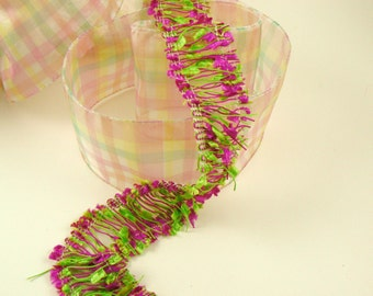Fushia and Lime Green Confetti Fringe Trim