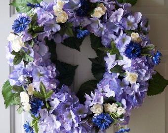 Hydrangea Wreath Lavender Hydrangeas White Roses and Blue Wildflowers Wedding Wreath