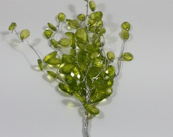"Mini Acrylic Bead Spray with Wire Stem - Apple Green - 4"" Spray"