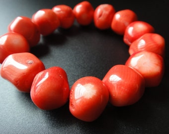 15mm Large Red Coral Bracelet Stretch Bracelet