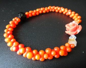 Natural Coral Bracelet Stretchy Bracelet Rose Flower Bracelet