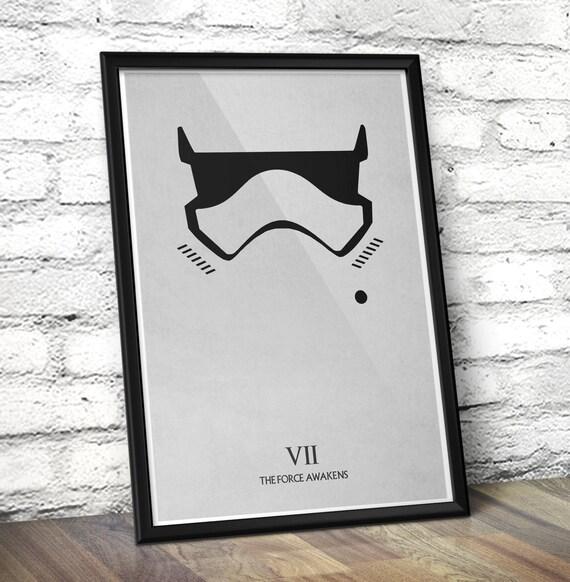 Star Wars The Force Awakens inspired Minimal Poster - Stormtrooper Minimalist Art Print -