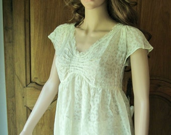 Tunic women in ivory lace, short sleeves, Sayda