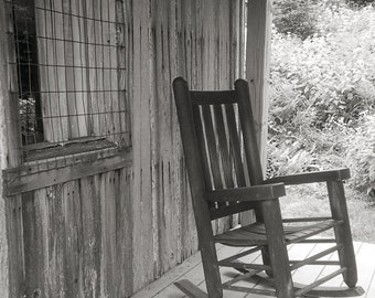 Rustic Front Porch, Rocking Chair, Giclee, Archival Print, Rustic Wall Decor, Cabin Art, Old Rocking Chair