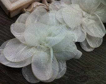 Shabby 3D Flower Lace Applique Chiffon Flower Lace  Trim White Appliqus for Dress Costume Headwear Home Decor Supplies, 2 Pieces
