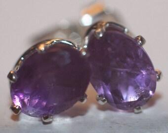 Handmade Deep Purple Amethyst Earrings in Sterling Silver