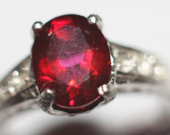 Handmade Mystic Red Topaz 9X7MM Ring in Sterling Silver size7