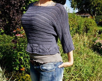 Women Hand Knit Pullover Top / Spring / Summer Cropped Sweater Top / Grey