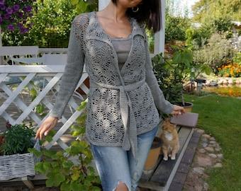 Women Handmade Summer Jacket / Cardigan / Hand Knit and Crochet Linen Jacket / Natural Linen Grey