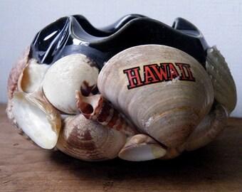 Hawaii Souvenir Bowl, Sea Shell Covered or Encrusted, Ceramic, Pinched Ruffle, Black Gloss, Japan, Cigar or Cigarette Ashtray, Vintage