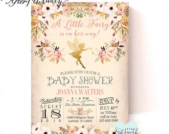 Fairy Baby Shower Invitation  // Enchanted Baby Shower // Vintage Peach Background  // Typography // Printable No.986