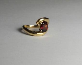 18k Gold Diamond Brown Tourmaline Ring