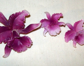 Brooch -Pin and Clip Earrings Vintage Orchids