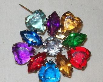 Brooch - Pin Vintage Multicolored Rhinestone