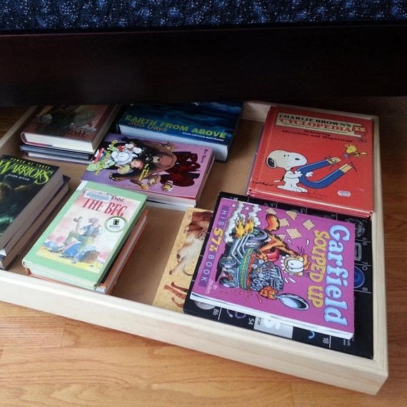 Under bed storage trundle toy bin book bin shoe bin Under bed book storage