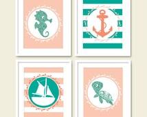 teal and coral nursery art set printable turquoise peach nautical ocean sea creature kids room wall art decor digital print instant download