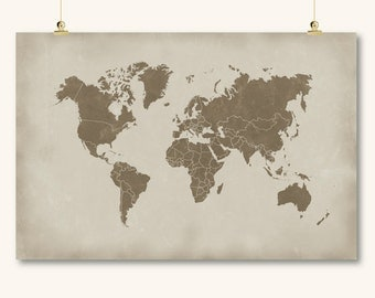 large world map countries print printable distressed world map of the world beige brown wall art decor poster digital instant download jpg