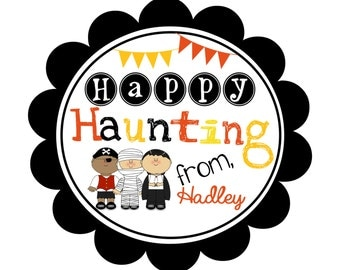 "Personalized Halloween Treat Bag Tag…""Happy Haunting"""