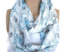 White Blue Infinity Scarf, Blue Flower Patterned Loop Scarf, White Shawl,Circle Wrap, Fashion Cowl, Fashion Accessories, Long, Lightweight