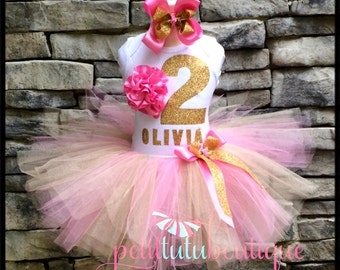 Pink and Gold Rose Flower Birthday Tutu set sizes 12m to 10y  Free Headband Number and Name