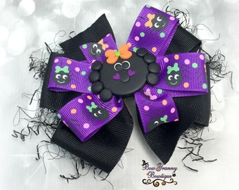 Spider Halloween Bow, Spider Bow, Spider Hair Bow, Halloween Bow, Halloween Hair Bow, Purple Halloween Bow, Purple and Black Bow