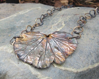 Fine Silver Begonia Leaf Pendant with Handmade Chain Option