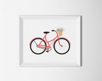 Bicycle Flower printable, Red decor, Coral Bike, Coral Wall art, bike decor, Flower print, bike wall art, minimalist art, bike printable