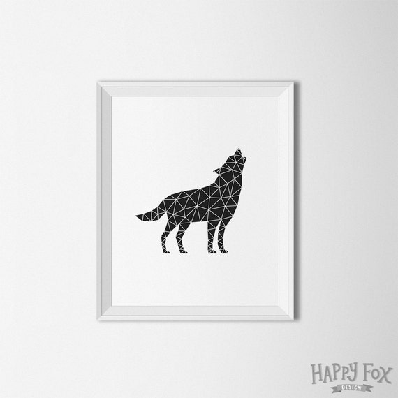 Howling Wolf Geometric Art Origami wolf print Simple art