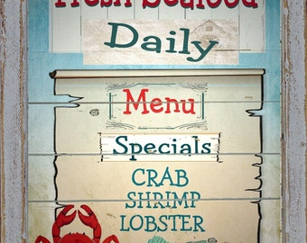 Vintage Style Nautical Seafood Menu Crab Lobster Shrimp Beach Ocean Wall Sign