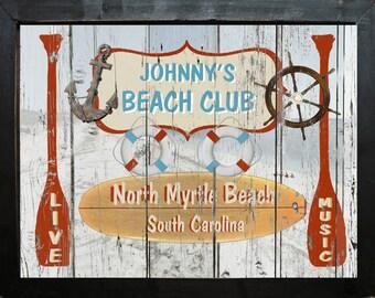 Personalized Vintage Style Nautical Beach House Club Ocean Anchor Oar Seashell Primitive Wall Art
