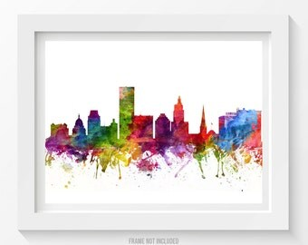 Providence Rhode Island Skyline Poster, Providence Cityscape. Providence Art, Providence Decor, Home Decor, Gift Idea 06