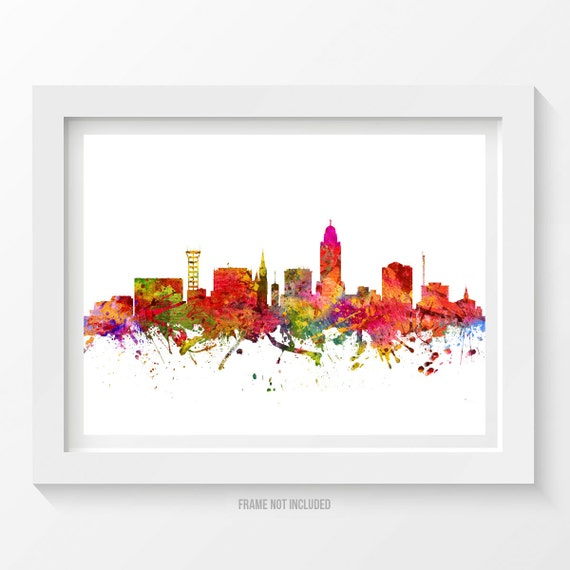 Lincoln nebraska skyline poster lincoln cityscape lincoln Home decor lincoln ne