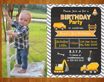 Construction Birthday Invitation Construction Dump Truck Birthday Invite digital Printable invite chalkboard look Cement Truck Photo Invite