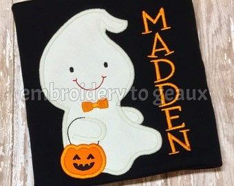 Personalized Glow in the Dark Boy Ghost Appliqued T-Shirt or Bodysuit, Halloween Shirts for Boys, Boys Halloween Shirt, Halloween Shirt