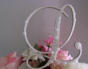 """Wooden White Pearls Decorated Monogram Letter """"L"""" Wedding Cake Topper 6"""""""